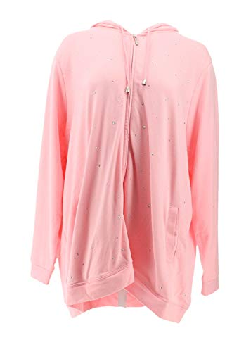 - Quacker Factory Rhinestone French Terry Zip Hoodie Candy Pink 2X New A285189