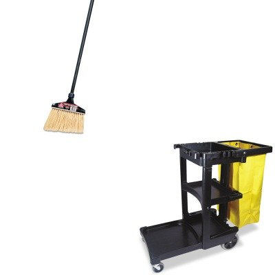 KITDRA91351EARCP617388BK - Value Kit - O-cedar Maxi-Angler Broom (DRA91351EA) and Rubbermaid Cleaning Cart with Zippered Yellow Vinyl Bag, Black (RCP617388BK) by O-Cedar