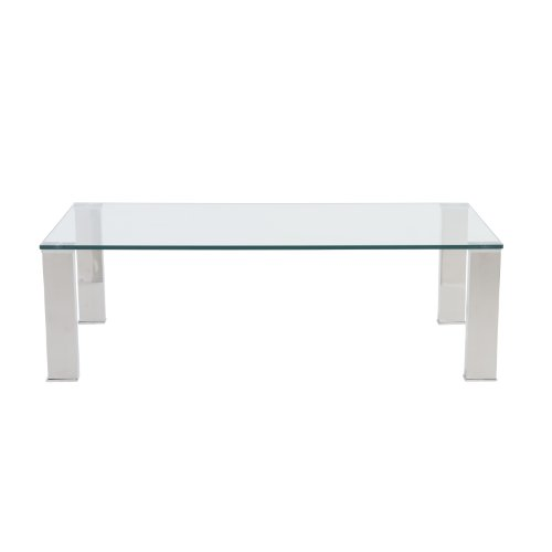 Eurø Style Beth Clear Glass Top Polished Stainless Steel Rectangle Coffee Table - Glass Rectangular Cocktail Table
