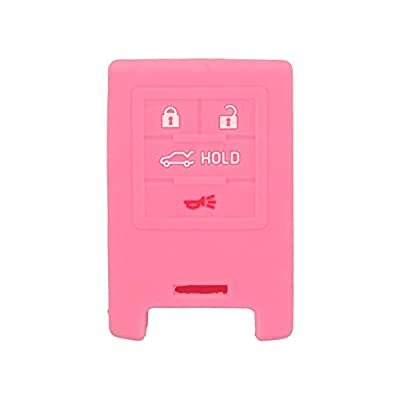 SEGADEN Silicone Cover Protector Case Skin Jacket fit for CADILLAC CHEVROLET 4 Button Smart Remote Key Fob CV4773 Pink: Automotive