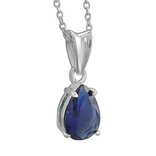 Trillion Jewels 1ct Created Sapphire Pear Cut Solitaire Pendant Necklace with 18 Inch Chain (1 Ct Pear Solitaire)