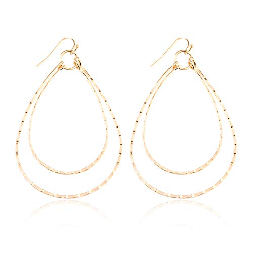 Lightweight Geometric Cut-Out Drop Earrings - Simple Metallic Open Hoop Wire Hook Dangles Teardrop, Oval, Kite, Petal (Wire Double Teardrops - Gold)