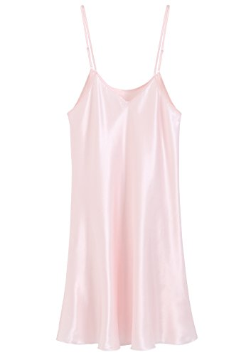 Latuza Women's Satin Nightgown Short Camisole Chemise, Pink, (Pink Short Nightgown)