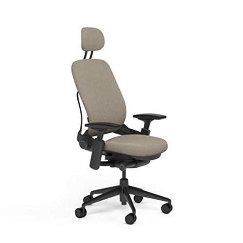 Steelcase Leap Desk Chair with Headrest in Buzz2 Sable Fabric - Highly Adjustable Arms - Black Frame and Base - Standard Carpet Casters (Sable Base)
