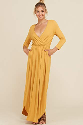 4 Women's Maxi Side Dress 3 3XL Sleeve Detail Annabelle Slits Bust Full Mustard Wrap Length Shirring S npOwvxYdq