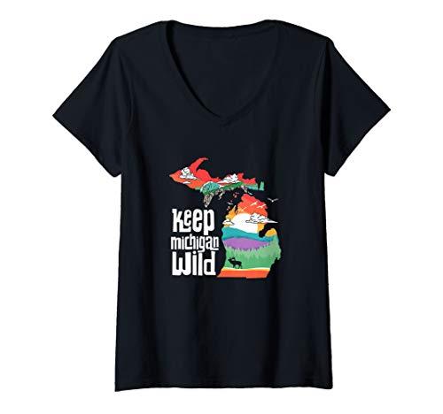 Womens Keep Michigan Wild! Vintage State Pride Nature Graphic  V-Neck T-Shirt