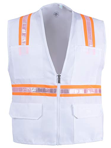 Safety Depot Safety Vest High Visibility Reflective Tape with 4 Lower Pockets, 2 Chest Pockets with Pen Dividers 8038-WT (White, XL)