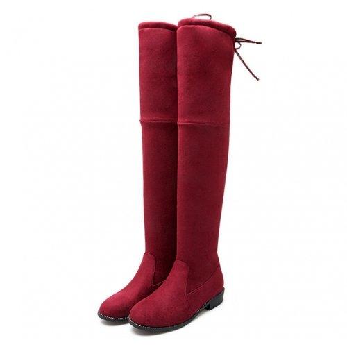 Rosso sopra effetto piatto e scamosciata basso il tacco moda Stivali pelle 39 ginocchio PpdO4wdxq