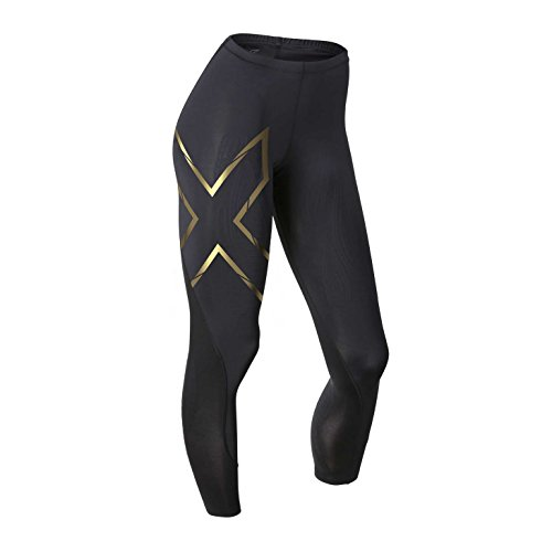 2XU Women's Elite MCS Compression Tights, Black/Gold, Small Tall by 2XU