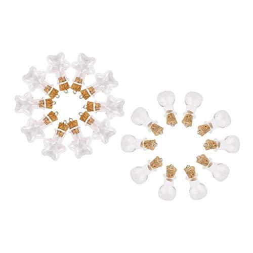 20 in 1 Set Flat Bulb Bottle Five-Pointed Star Jars Mini Perfume Cork Bottle Necklace Jewelry Crafting Key Chain Bracelet Pendants Accessories Best