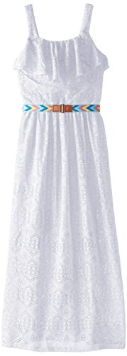 Amy Byer Big Girls' Belted Lace Maxi Dress, White, Small