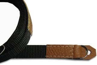 Sunlows poly camera strap with leather ends with ring and lug protector NY-125-BR-C