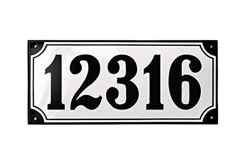 Ramsign Custom House Number in Porcelain Enamel - Classic European Address Plaque - Danish Design Home ()