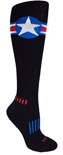 MOXY Socks Black with Red, White, and Blue American Star Knee-High Deadlift Socks