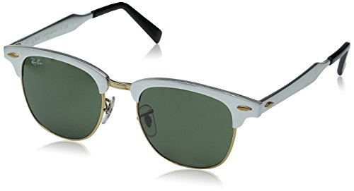 RAY-BAN CLUBMASTER ALUMINUM RB 3507 137/40 51MM BRUSHED SILVER/ GREY MIRROR - Ban Sunglasses Ray Price