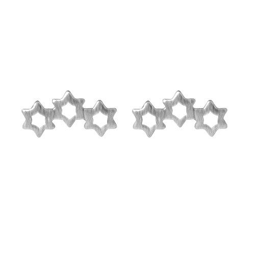 Sterling Silver Three Stars - 925 Sterling Silver Three Star Pierced Post Stud Earrings Christmas Gift Halloween Jewelry for Women Girls