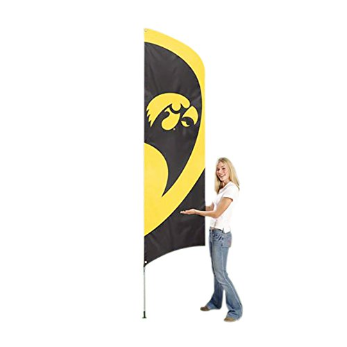 - Party Animal NCAA Sports Team Logo Iowa Hawkeyes Tall Team Flag with Pole