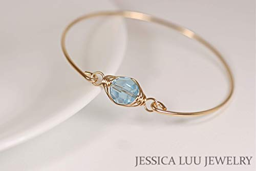- Gold Aquamarine Swarovski Crystal Bangle Bracelet Wire Wrapped Yellow or Rose Gold Filled Bracelet