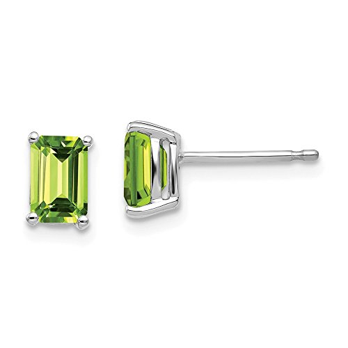(14k White Gold 6x4mm Green Peridot Post Stud Earrings Gemstone Fine Jewelry Gifts For Women For Her)