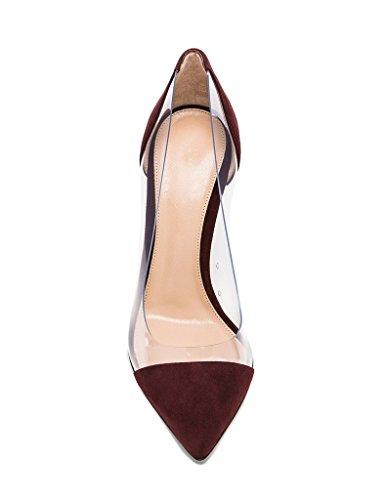 35 À Transparent Taille Chaussures 45 Edefs Escarpins Aiguille Talon Femmes 120mm Burgundy Stilettos wxZnq0v