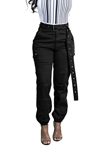 - Cosygal Women's Casual Loose Cargo Pants Trousers Jogger with Belt Pockets Black Small