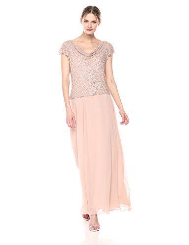 - J Kara Women's Long Beaded Cowl Neck Flutter Sleeve Gown Dress, Blush, 16