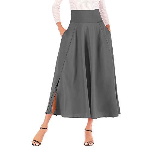 - Han Shi Women Maxi Skirt High Waist A Line Front Slit Belted Long Pleated Dress (Gray, XXL)