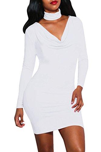 LaSuiveur Women's V Neck Ruched Long Sleeve Sexy Bandage Club Mini Dress White S -