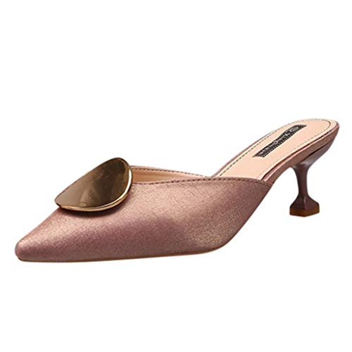 Leisuraly Women Slip-on Stiletto Slingback Sandals Glitter Lycra Slippers Slip on Pump Open Point Toe Slides Fine High Heel Mules Women Dress Shoe Pink