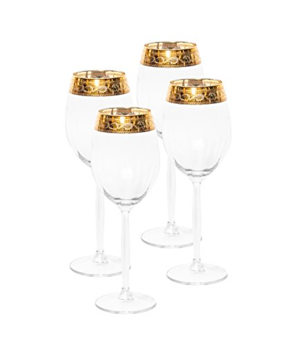 Italian Collection Crystal 10 Oz 'Alessandra' Wine Goblet Glasses, 24K Gold Rim, Vintage Luxury Pattern