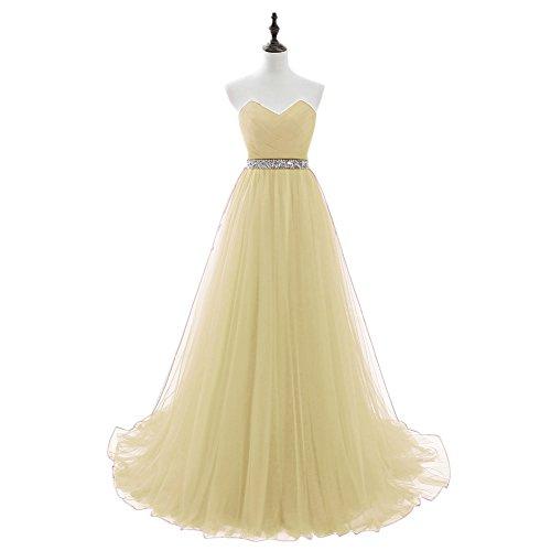 Besswedding Longue Élégante Robe De Bal De Perles De Mariage De Tulle Robes De Mariée Pour Les Femmes Jaune Clair