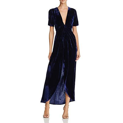 827661f299 JOA Womens Velvet Faux Wrap Cocktail Dress Navy S