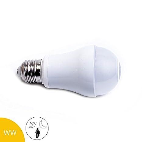 LED Bombilla 4 W E27, y sensor de movimiento crepuscular, Blanco cálido, mate