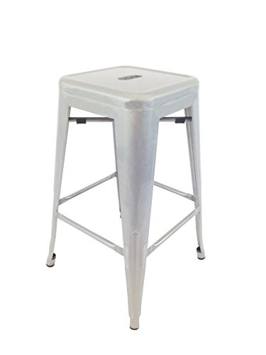 Neos Modern Furniture Creative Images International Gatsby Collection Set of 4 Industrial Metal Bar Stools, Natural ()