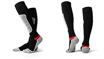Winter Ski Socks Men Women Hiking Sport Snow Cotton Long Snowboard Sock (Black)
