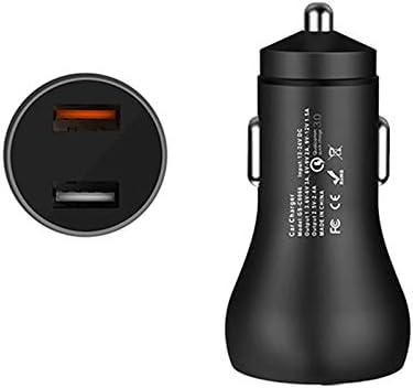Gaoominy QC3.0車の充電器30W FCP 2.4A車の充電器 x iaomi 2.0クイックユニバーサルUSBファストカーチャージャーに適用 x 8 7 Plus 用 ブラック