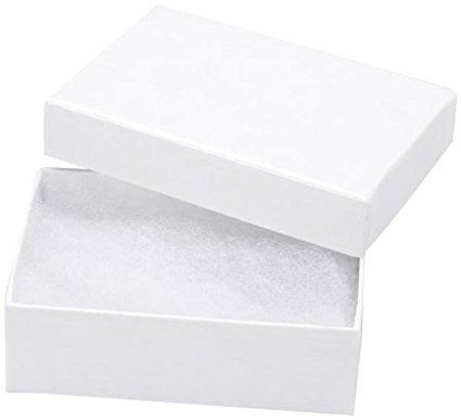 RJ Displays- 16 Pack Cotton Filled Elegant White Jewelry Box for Pocket Watch, Ring, Earring, Necklace Chain Jewelry Collectibles and Gift 3 1/4