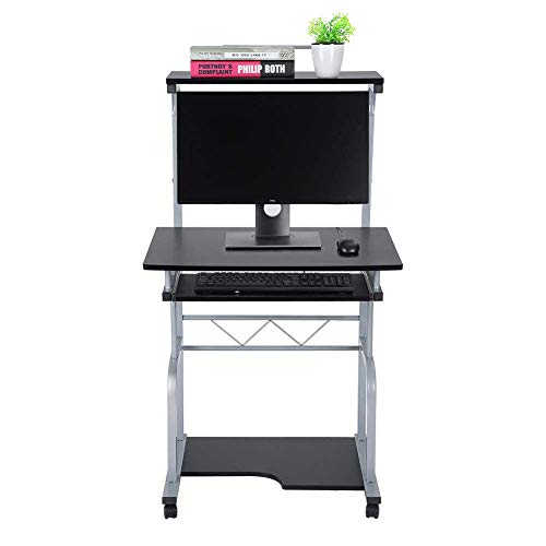 Yjkegjvdgf Computer Desk Desk Laptop Table Work Table with 4 Casters Easily Mounted Table for Home Office 45 x 45 x 128 cm Black (Color : -, Size : -) ()