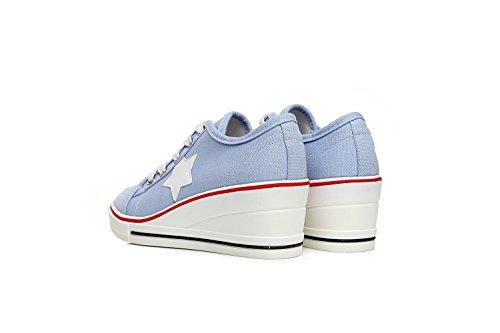 de Otoño Color Inferiores Talones Zapatos Baja Zapatos Muffin pequeños de Ayuda Grueso 39 Mujer Talón Lona Primavera Comfort Talón Blancos tamaño Zapatos Talón Azul Zapatos Lienzo qaIawBPz