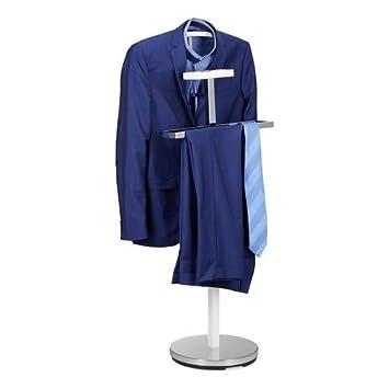 Relaxdays Valet de chambre portant à vêtements serviteur de chambre design  métal sur pied HxlxP: 112 x 47 x 30 cm, blanc