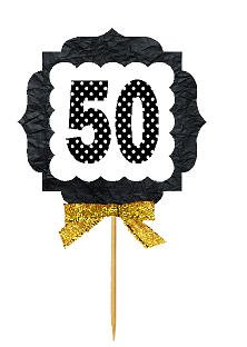 50th Birthday / Anniversary Gold Ribbon Hand Crafted Novelty Cupcake Decoration Toppers / Picks -12ct