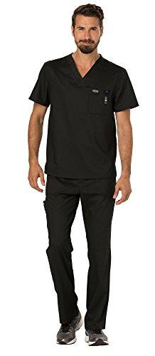 Cherokee Workwear Revolution Men's Medical Uniforms Scrubs Set Bundle - WW690 V-Neck Scrub Top & WW140 Zip Fly Cargo Scrub Pants & MS Badge Reel (Black - XX-Large/XXL Tall)