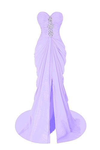 Bess Bridal Women's Pleats Mermaid Sweetheart Prom Evening Dress Lilac