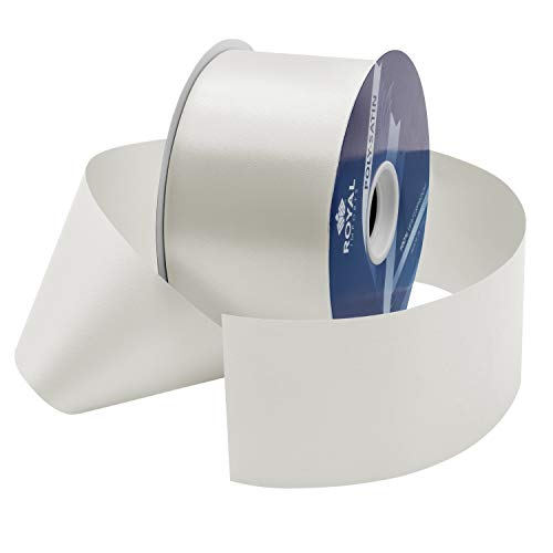 White Poly Satin Waterproof Ribbon 2.75