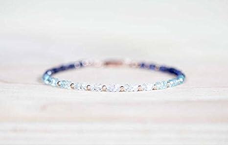 Pulsera de piedra lunar Iolite, aguamarina y arco iris, chapada en oro rosa o plata de ley, delicada piedra preciosa Ombre apilable 3 mm 7 pulgadas