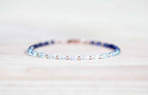 JP_Beads Iolite, Aquamarine and Rainbow Moonstone Bracelet, Rose Gold Fill Or Sterling Silver, Delicate Beaded Gemstone Ombre Stacking Bracelet 3mm 7 inches ()