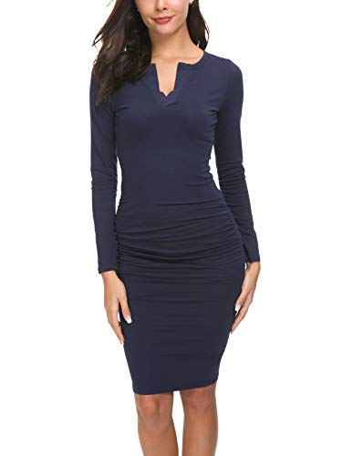Missufe Women's Cute V Neck Casual Ruched Sundress Sheath Knee Length Bodycon Dress (Long Sleeve Navy Blue, Large)