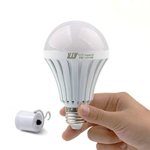 YJY Emergency LED Light Bulb with Build-in Rechargeable Battery for Hurricane Power Outage, Lampholder Hook for Camping Flashlight, 9W(75W Equivalent) 6000K E27 E26 120V 220V