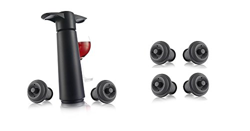 Vacu Vin Wine Saver Pump, Black with 6 Vacuum Bottle Stoppers by Vacu Vin