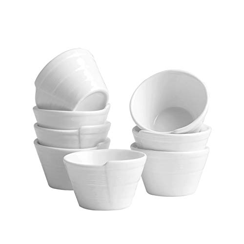 Dipping Sauce Dishes, Porcelain Soy Sauce Dipping Cups - 8 Packs, White, 1.3 oz